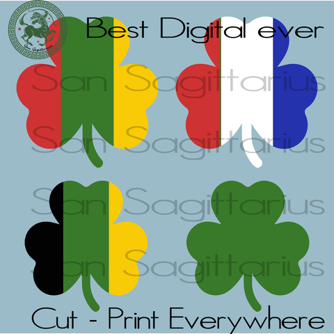 Clover Leaves, USA America Flag, Ireland Flag, Happy Patrick's Day, Patricks Party Svg, Three Leaves Clover, Gift For Man, Birthday In March, Birthday Boy SVG Files For Cricut Silhouette Instant Download | San Sagittarius