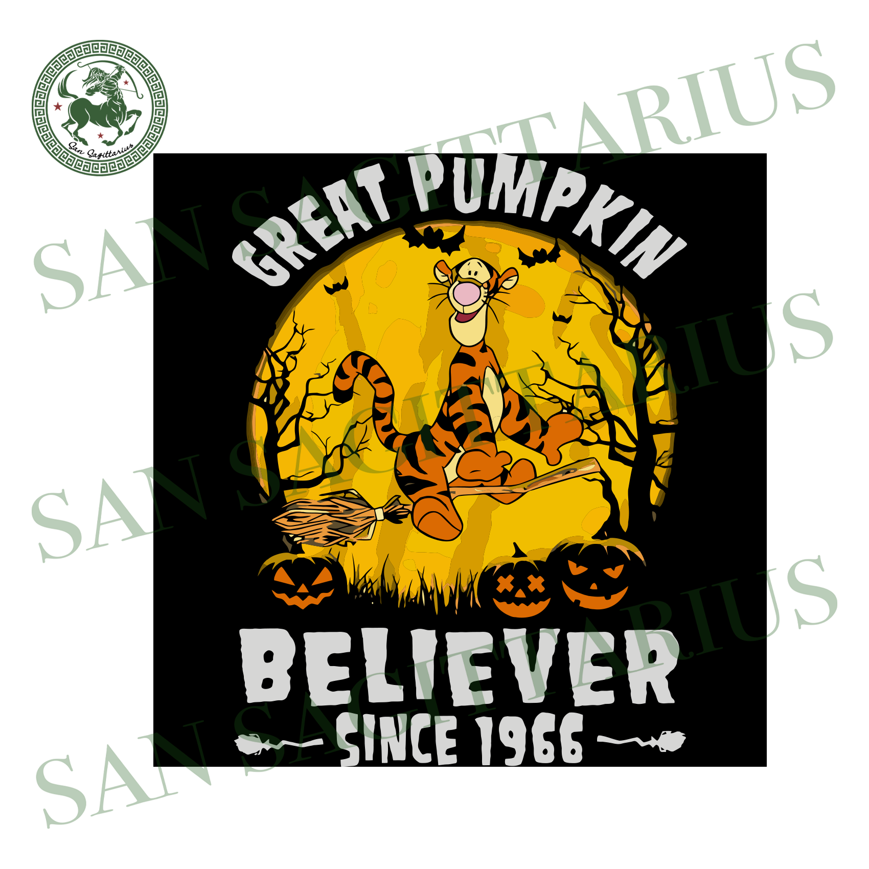 Tigger Great Pumpkin Believer Since 1966, Halloween Svg, Happy Halloween, Halloween Gift, Halloween Shirt, Halloween Icon, Halloween Vector, Nightmare Svg, Tigger Svg, Cute Tigger, Tigger Shi