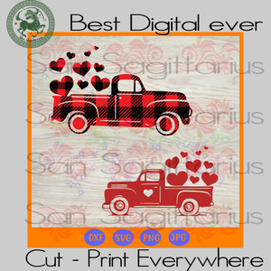 Valentine Truck Buffalo Plaid Wife Husband Gifts SVG Files For Cricut Silhouette Instant Download | San Sagittarius