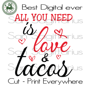 Tacos Valentine Gift For Mom Svg, Valentine's Day Cut File, Tacos Tuesday Valentine, Mommy Gift Svg, Tacos SVG Files For Cricut Silhouette Instant Download | San Sagittarius