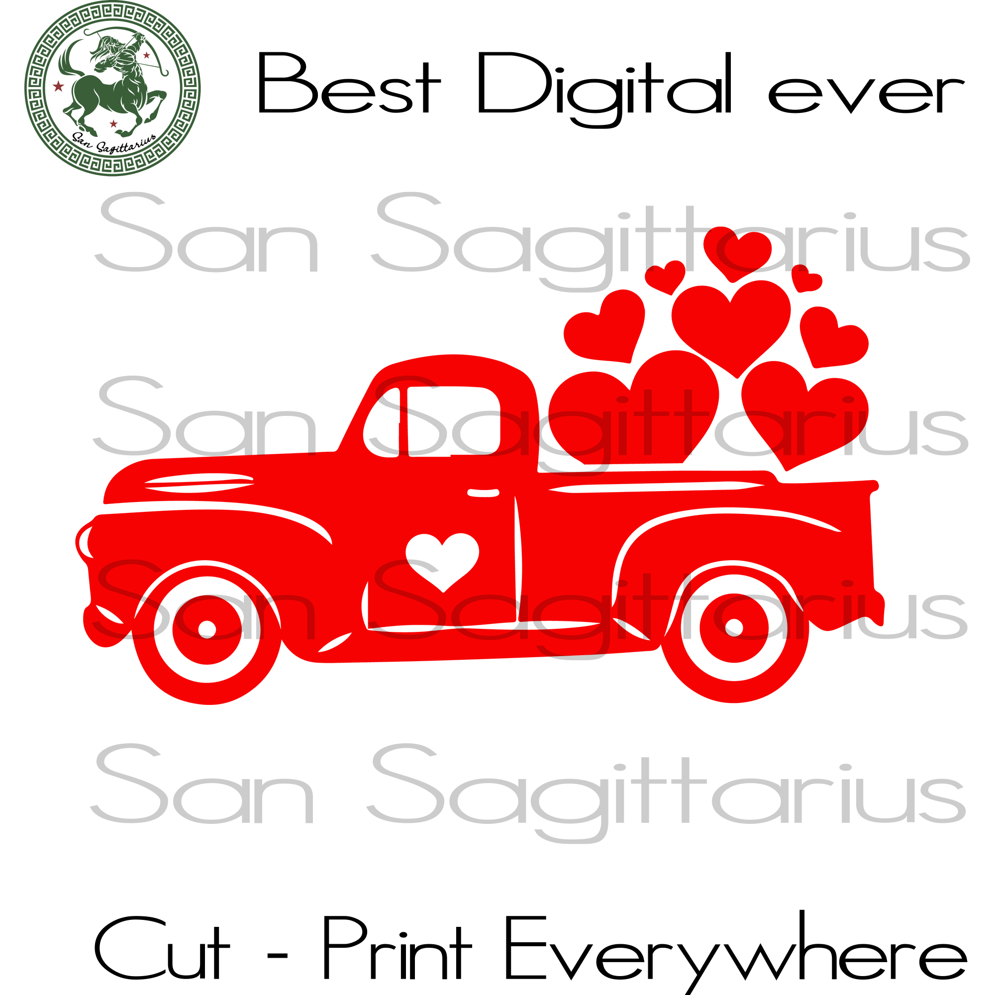 Valentine Truck Svg, Valentine's Day Cut File, Truck Valentine Silhouette, Lover Gift Svg, Truck SVG Files For Cricut Silhouette Instant Download | San Sagittarius