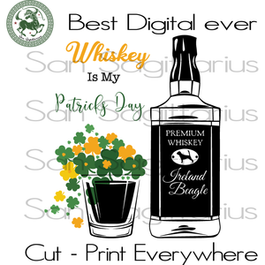 Whiskey Is My Patrick's Day, Patricks Whiskey Lover Svg, Three Leaves Clover, Gift For Man, Drinking Team SVG Files For Cricut Silhouette Instant Download | San Sagittarius