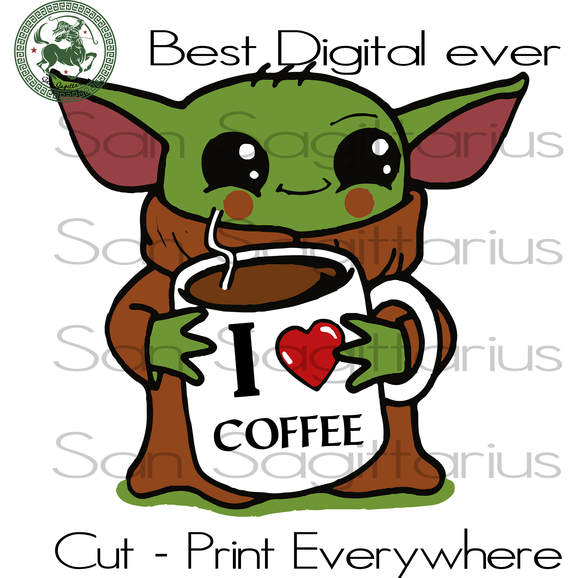 Baby Yoda Star Wars Coffee Lover Clipart SVG Files For Silhouette, Cricut Files, SVG DXF EPS PNG Instant Download