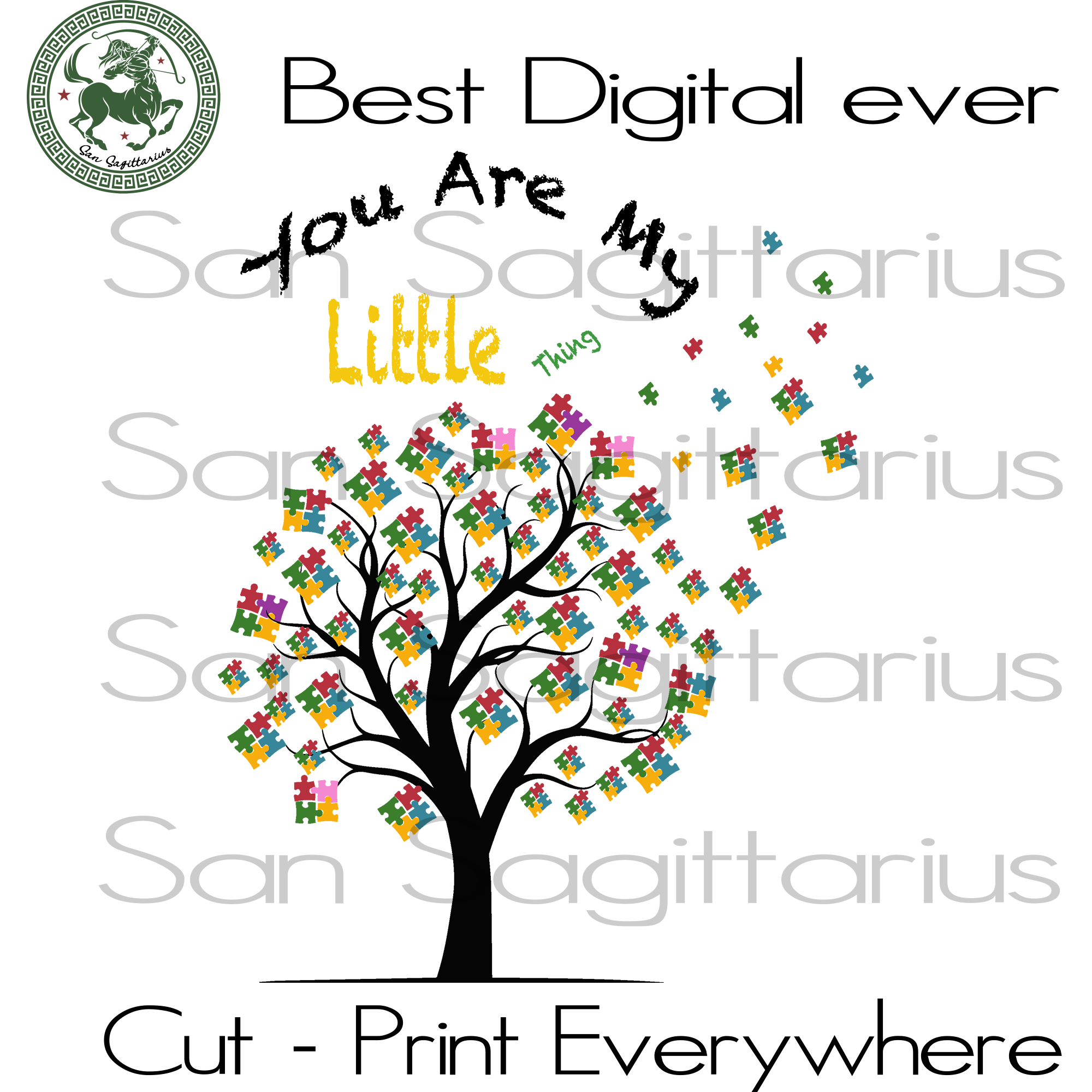 You Are My Little Thing, Autism Gift, Autism Svg, Autism Awareness, Autism Son, Autism Mom SVG Files For Cricut Silhouette Instant Download | San Sagittarius