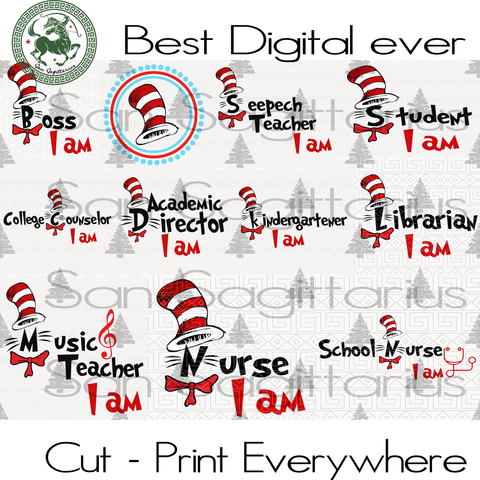 Dr Seuss bundle, Dr Seuss Svg Files, Dr Seuss cut files, Clipart, Eps Vectors, Dxf files for cricut, Cutting Machines SVG Files For Silhouette Cricut Instant Download | San Sagittarius
