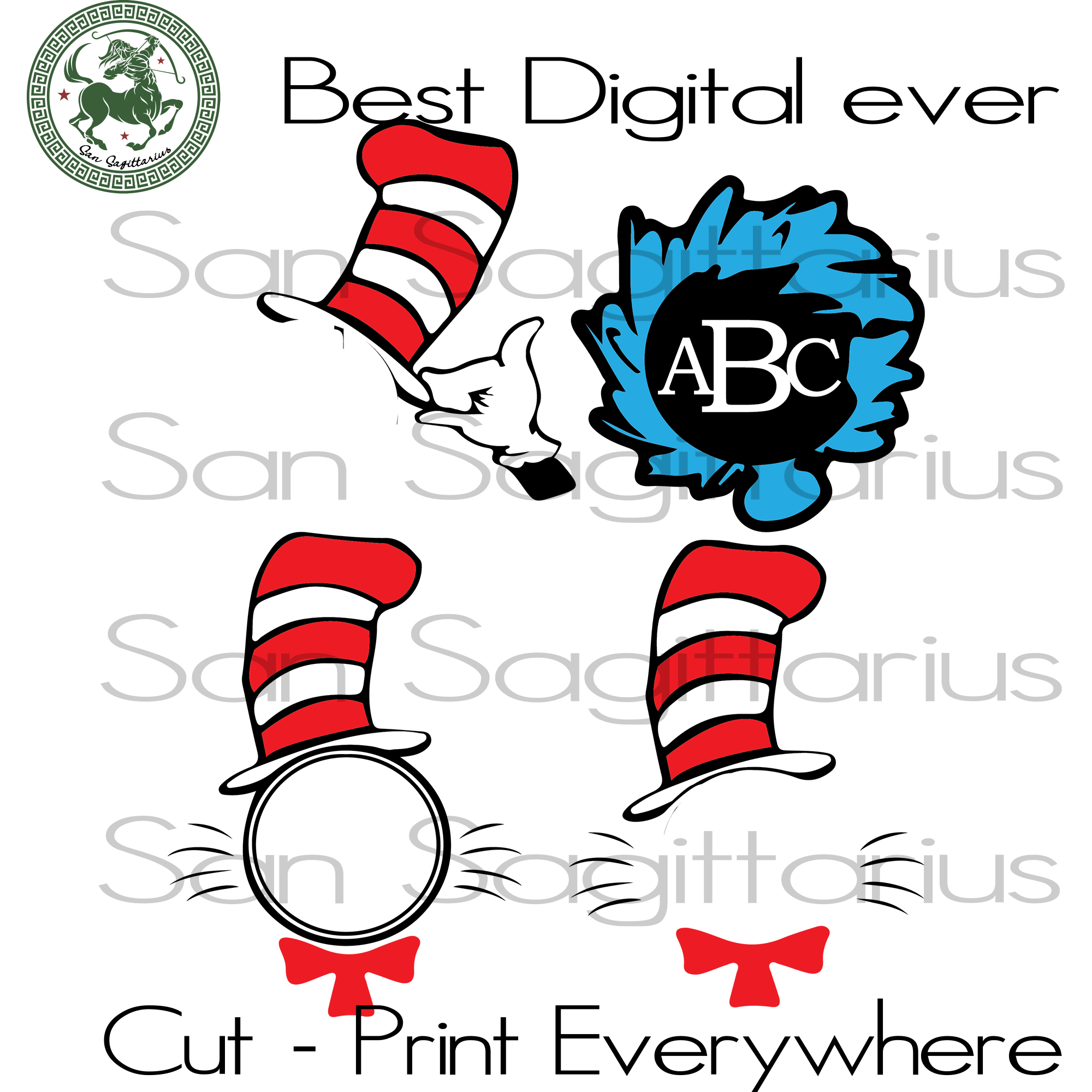 Dr Seuss svg, Cat In Hat, The Lorax Svg,Thing one thing two, Dr. Seuss svg, Thing 1 Thing 2 SVG Files For Cricut Silhouette Instant Download | San Sagittarius