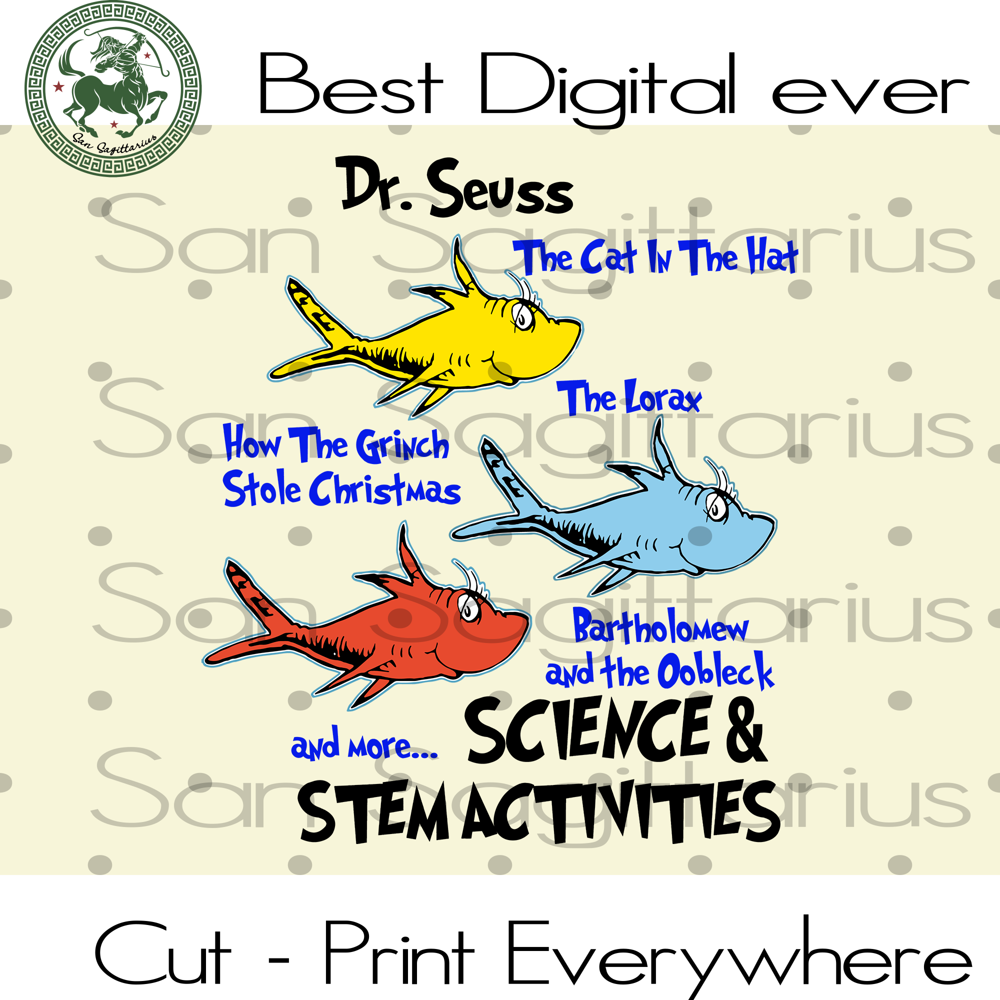 One Fish Two Fish, Yellow Fish Red Fish Blue Fish, Dr Seuss Svg, Dr Seuss Gift, Dr Seuss Birthday Party Svg Files For Cricut Silhouette Instant Download | San Sagittarius