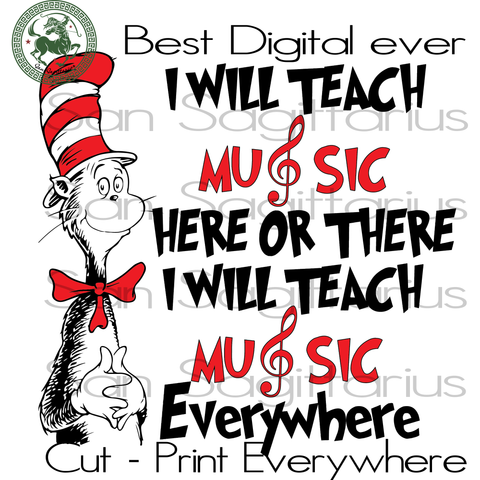 Music Teacher Dr Seuss, Teacher SVG, School teacher svg, Teacher svg, Dr Seuss svg, Dr Seuss Birthday Party Svg, Dr Seuss Print, Dr Seuss Poster, Thing 1 Thing 2 SVG Files For Silhouette Cric