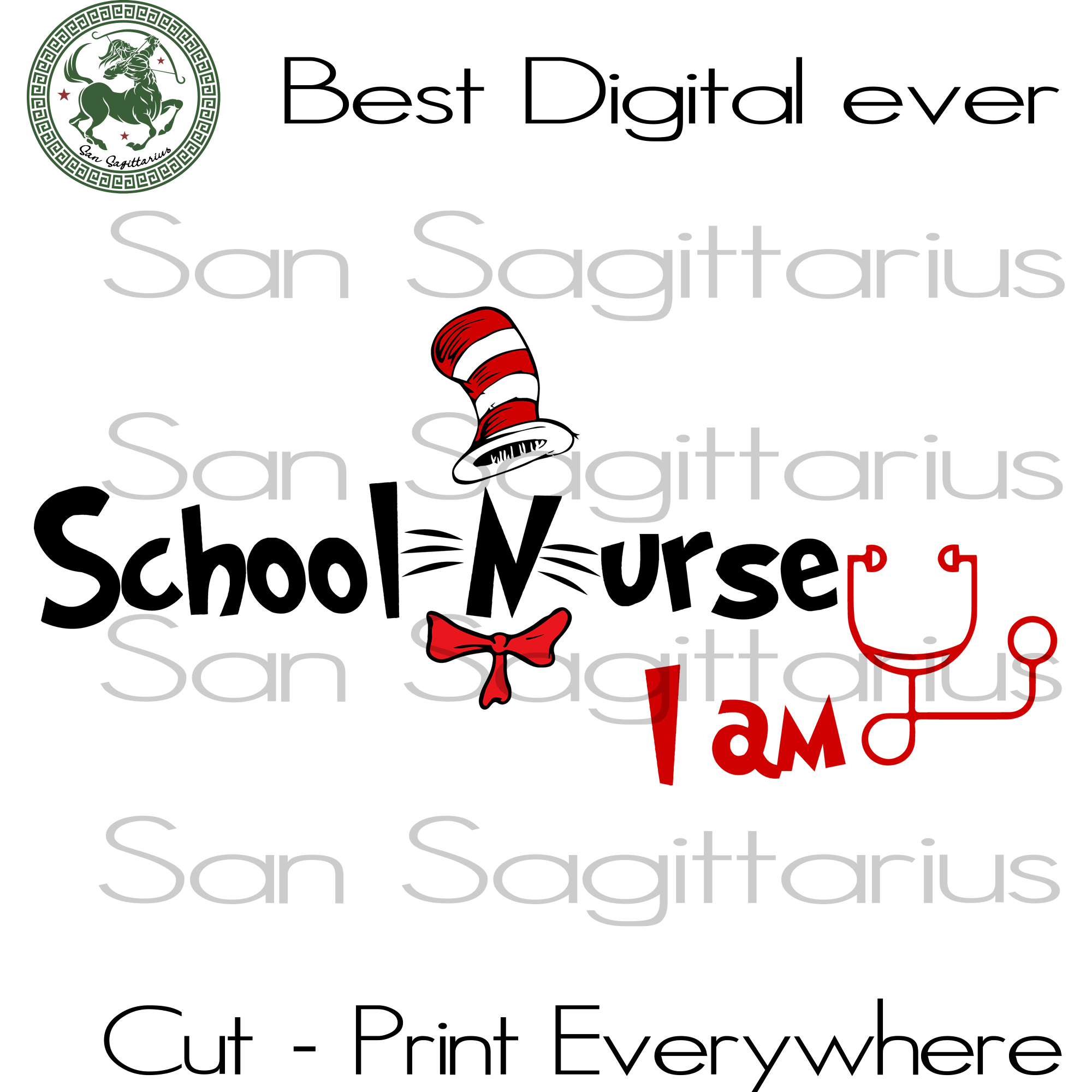 Dr Seuss schooI nurse  SVG Files For Silhouette, Cricut Files, SVG DXF EPS PNG Instant Download