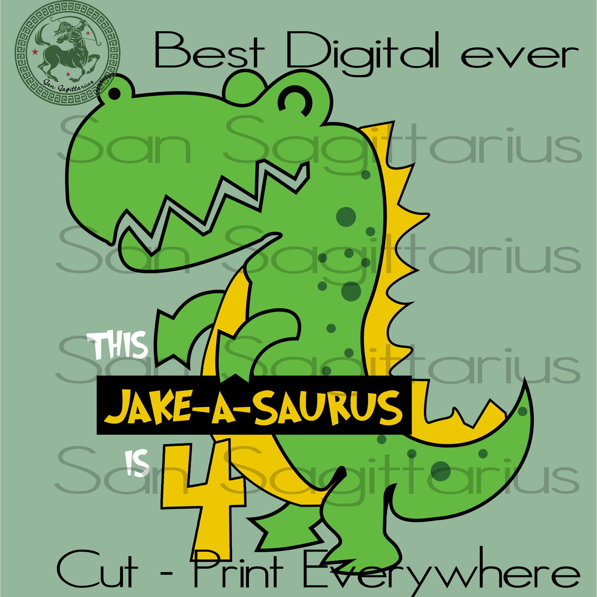 4th Birthday Kids Customized, Cute Dinosaur Svg, Dinosaur Clipart, Dinosaur Vector, Birthday SVG Customized, Birthday Son Cut File, Birthday Gift Funny Kids SVG Files For Cricut Silhouette Instant Download | San Sagittarius