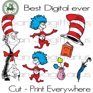 Dr Seuss Bundle Cut Files, Dr Seuss Party, Dr Seuss Cat, Thing 1 Thing 2, Thing One Thing Two SVG Files For Cricut Silhouette Instant Download | San Sagittarius