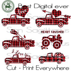 Valentine Truck Love Heart Plaid Bundle Svg, Valentines Day Cut File, Truck Valentine Silhouette, Lover Gift Svg, Truck SVG Files For Cricut Silhouette Instant Download | San Sagittarius