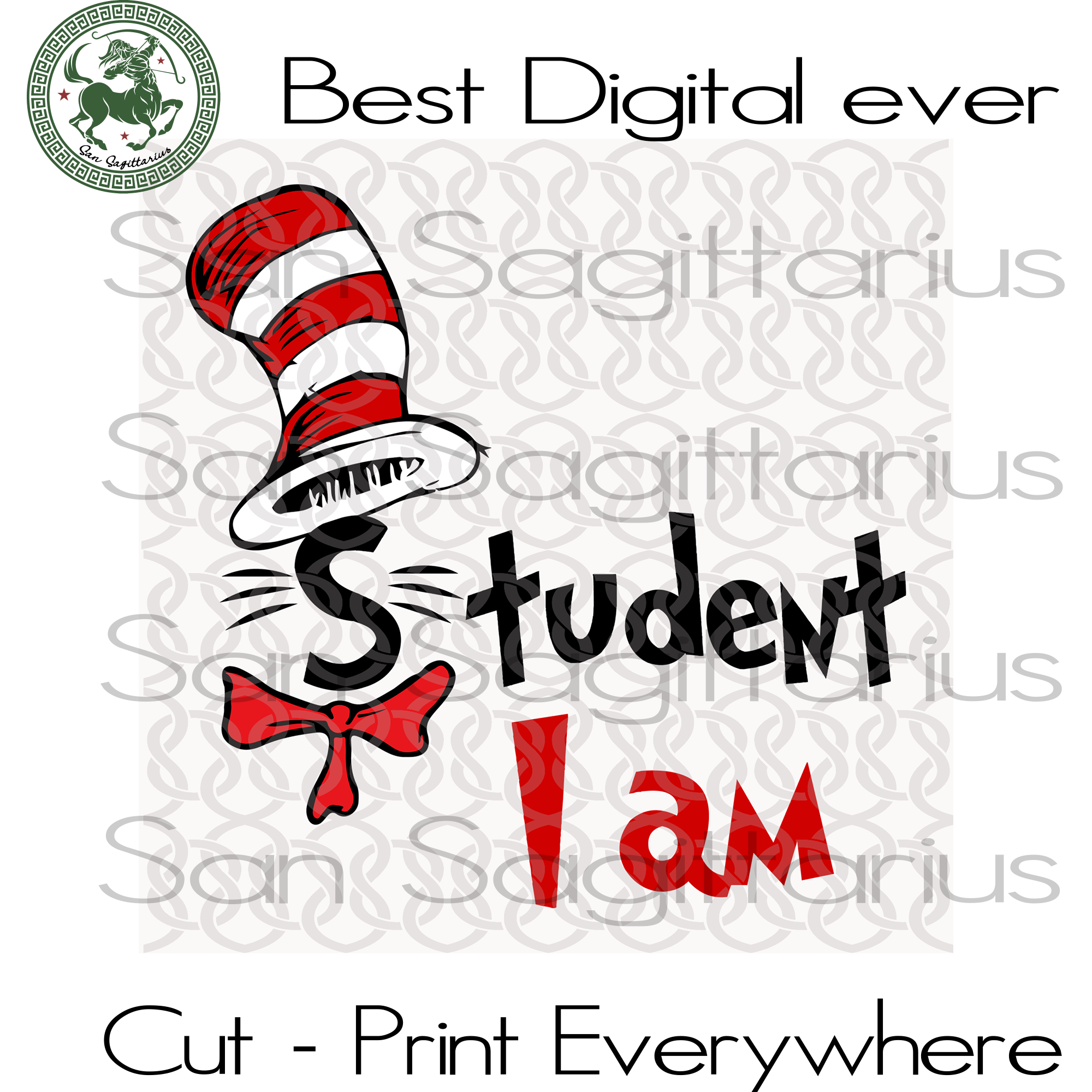 Dr Seuss Student, Dr Seuss Svg Files, Dr Seuss cut files, Clipart, Eps Vectors, Dxf files for cricut, Cutting Machines, Svg Files For Cricut Silhouette Instant Download | San Sagittarius