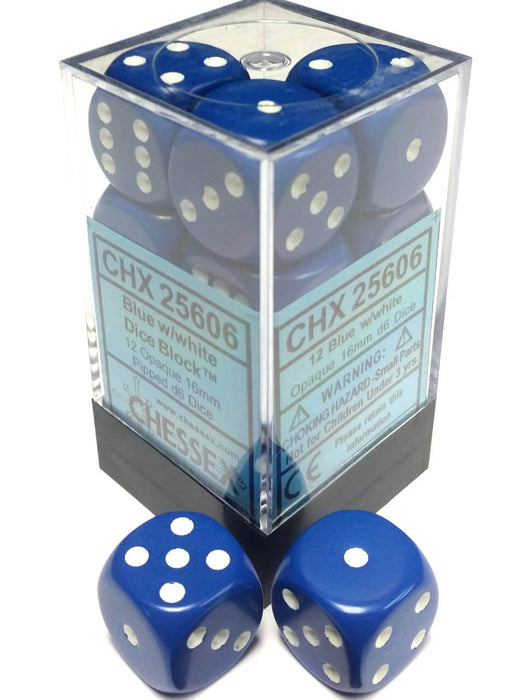 Opaque: 16mm D6 Blue/White (12)