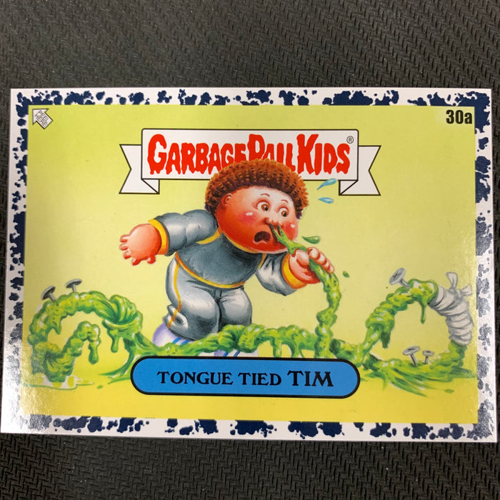 Garbage Pail Kids - 35th Anniversary 2020 - 030a - Tongue Tied Tim - Bruised Black Parallel