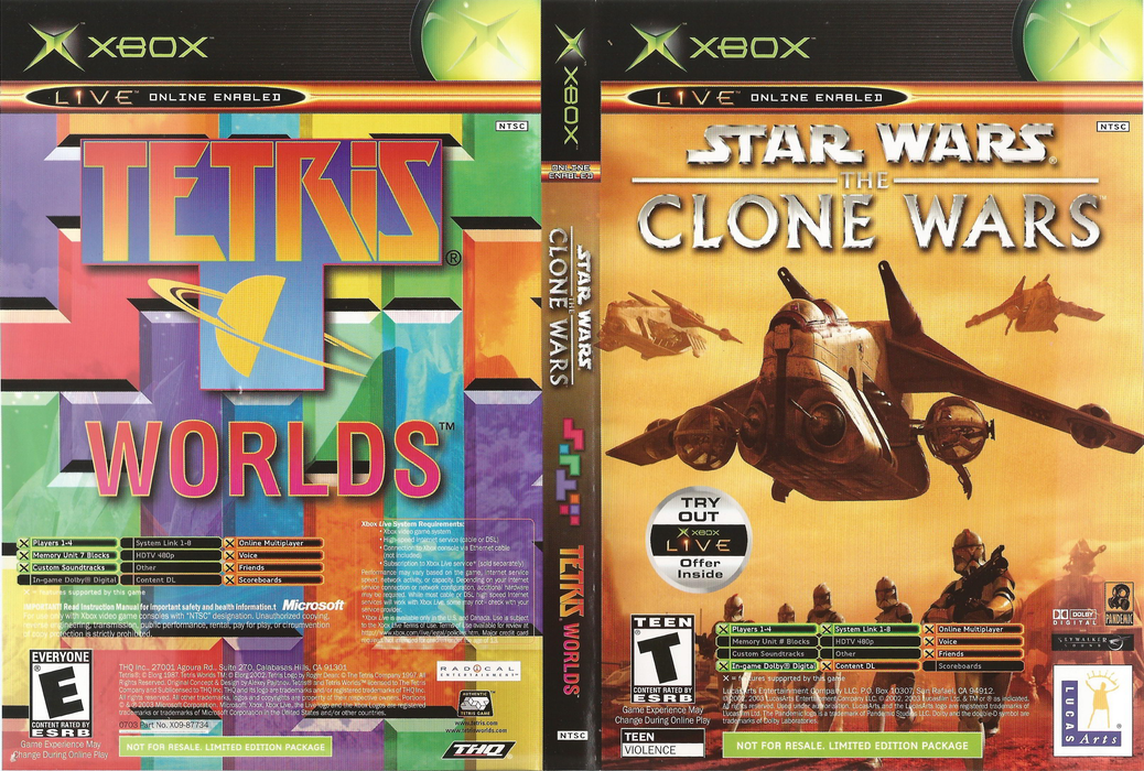 Star Wars - The Clone Wars and Tetris Worlds - Xbox - in Case
