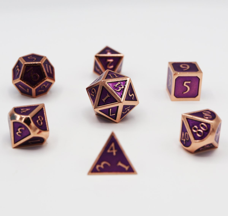 Foam Brain Dice - Copper with Amethyst RPG Set