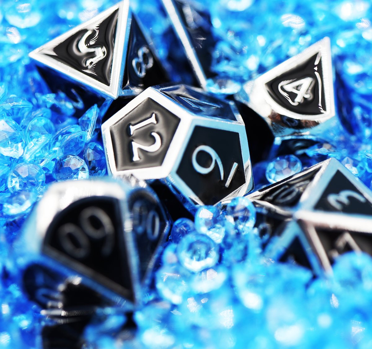 Foam Brain Dice - Silver Embossed Onyx RPG Set
