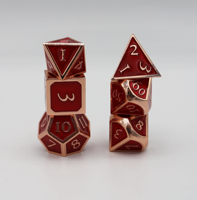 Foam Brain Dice - Copper Embossed Ruby RPG Set