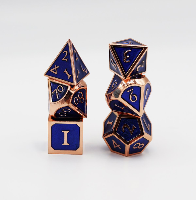 Foam Brain Dice - Copper Embossed Sapphire RPG Set