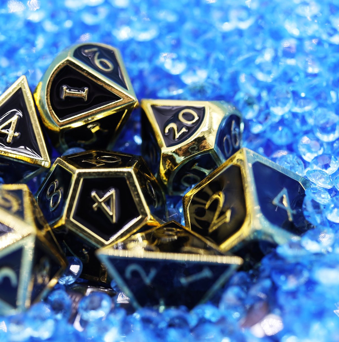 Foam Brain Dice - Gold Embossed Onyx RPG Set