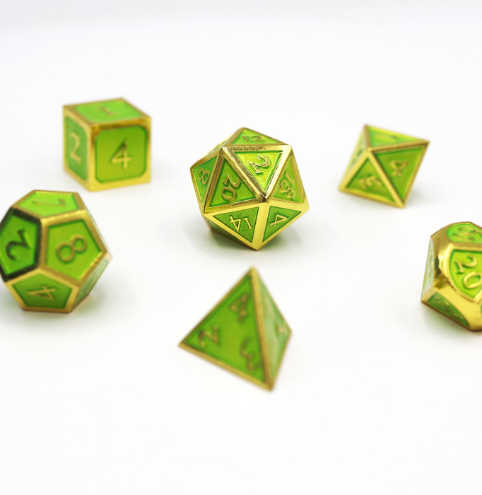Foam Brain Dice - Gold Embossed Jade RPG Set