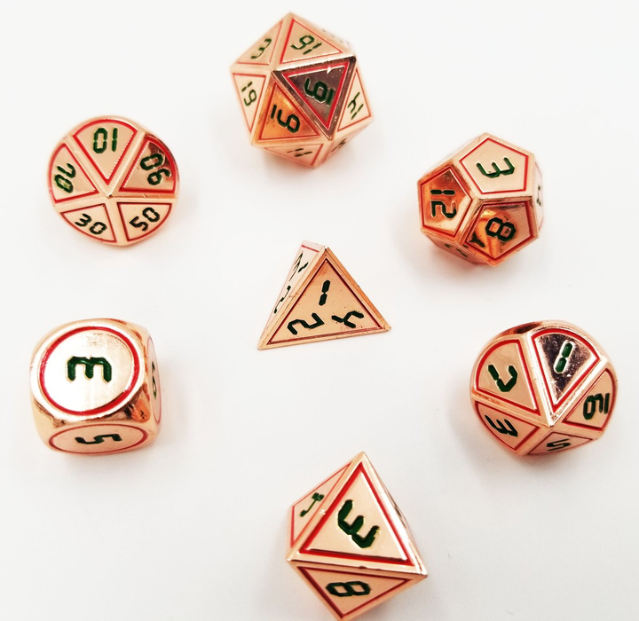 Foam Brain Dice - Digital Copper Red with Green RPG Set