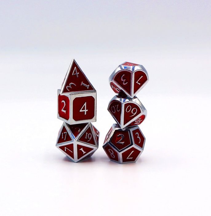 Foam Brain Dice - Silver Embossed Ruby RPG Set