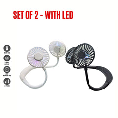 MINIMAX Portable Rechargeable Necklace Fan - Hands Free Neck Fan, Bendable, 3 Speeds, 360 Degrees Rotation, for Outdoor, hikes, Menopause Hot Flashes, Fishing, Beach, 8 Hrs Battery (2 Pack Led)