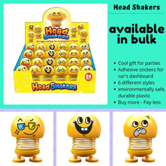 Head Shakers Emoji Bobbleheads for Cars - Cool Set of Shaking Head Toys for Car, Home or Office, Featuring Hilarious Emoji Doll Bobble Heads, 2 Sizes, Cute and Funny Dashboard Decoration (4 pc)