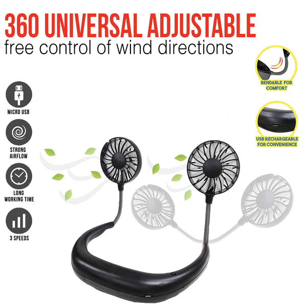 MINIMAX Portable Rechargeable Necklace Fan - Hands Free Neck Fan, Bendable, 3 Speeds, 360 Degrees Rotation, for Outdoor, hikes, Menopause Hot Flashes, Fishing, Beach, 8 Hrs Battery (4 Black)