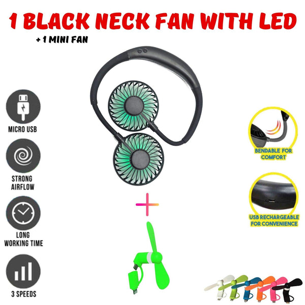 MINIMAX Portable Rechargeable Necklace Fan - Hands Free Neck Fan, Bendable, 3 Speeds, 360 Degrees Rotation, for Outdoor, hikes, Menopause Hot Flashes, Fishing, Beach, 8 Hrs Battery (Black LED&Mini)