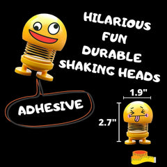 Head Shakers Emoji Bobbleheads for Cars - Cool Set of Shaking Head Toys for Car, Home or Office, Featuring Hilarious Emoji Doll Bobble Heads, 2 Sizes, Cute and Funny Dashboard Decoration (10 pc)