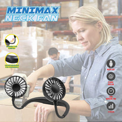 MINIMAX Portable Rechargeable Necklace Fan - Hands Free Neck Fan, Bendable, 3 Speeds, 360 Degrees Rotation, for Outdoor, hikes, Menopause Hot Flashes, Fishing, Beach, 8 Hrs Battery (4 LED Black)