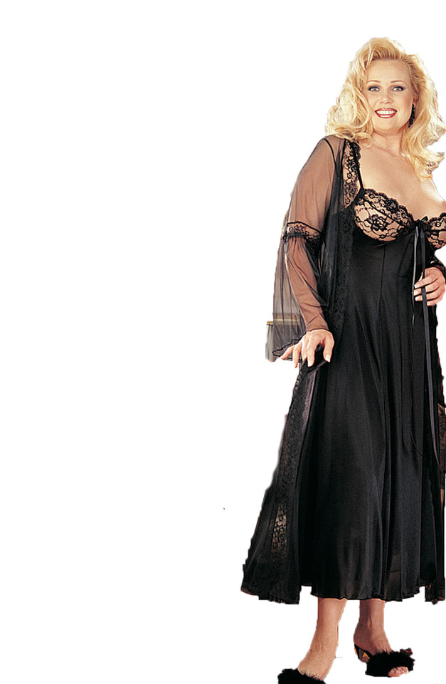 95b3ce54183 ... Ladies Beautiful Elegant Plus Size Sheer Lace Bust Pretty Bow Long Gown    Lace Trimmed Long