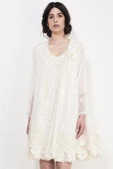 DOZEN SHEER LACE KIMONO - IVORY. BLACK - Darccy & Soma London