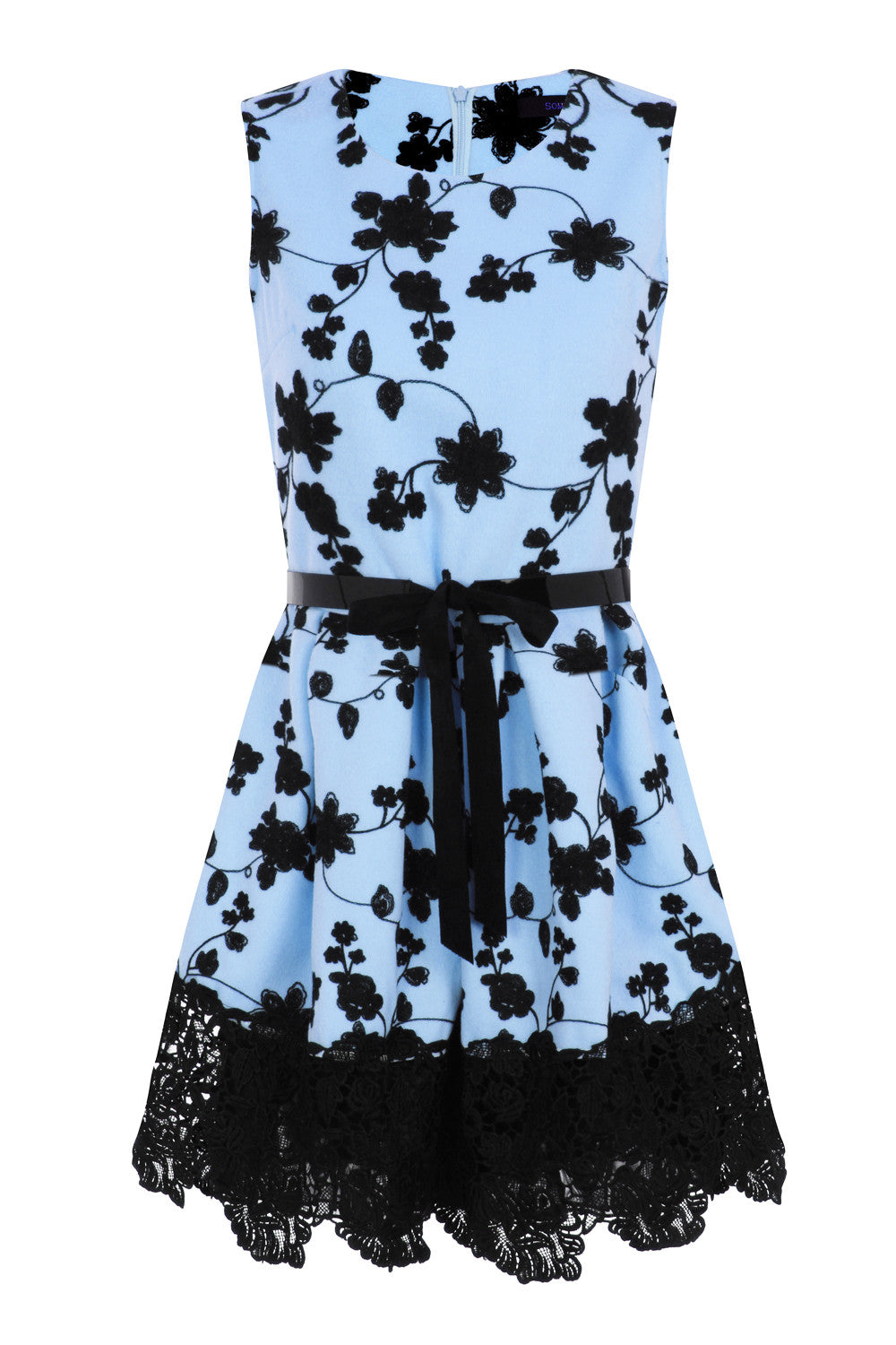 FLORAL EMBROIDERY DRESS - BLUE - Darccy & Soma London