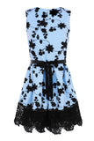 FLORAL EMBROIDERY DRESS - BLUE