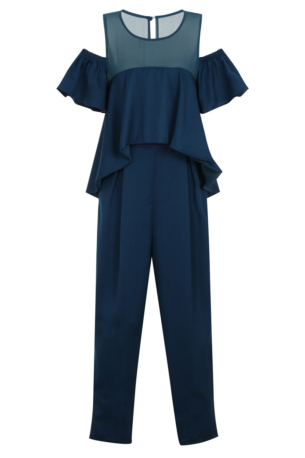 RUFFLE SLEEVE COLD SHOULDER JUMPSUIT - Darccy & Soma London