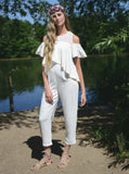 RUFFLE SLEEVE COLD SHOULDER JUMPSUIT