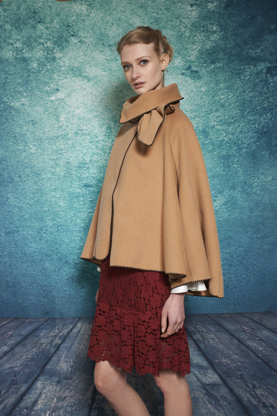 SIDE BOW CAPE - CAMEL - Darccy & Soma London