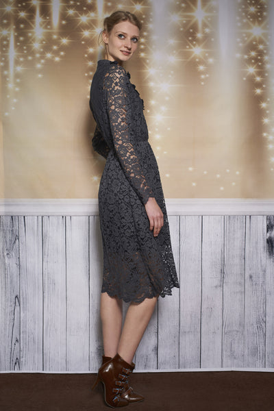 PETAL LACE DRESS - STEEL