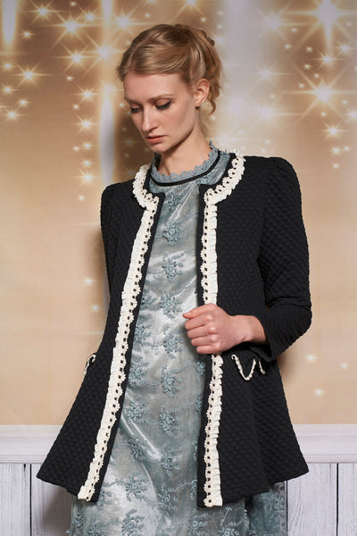 LACEY LINE LONG JACKET - BLACK - Darccy & Soma London