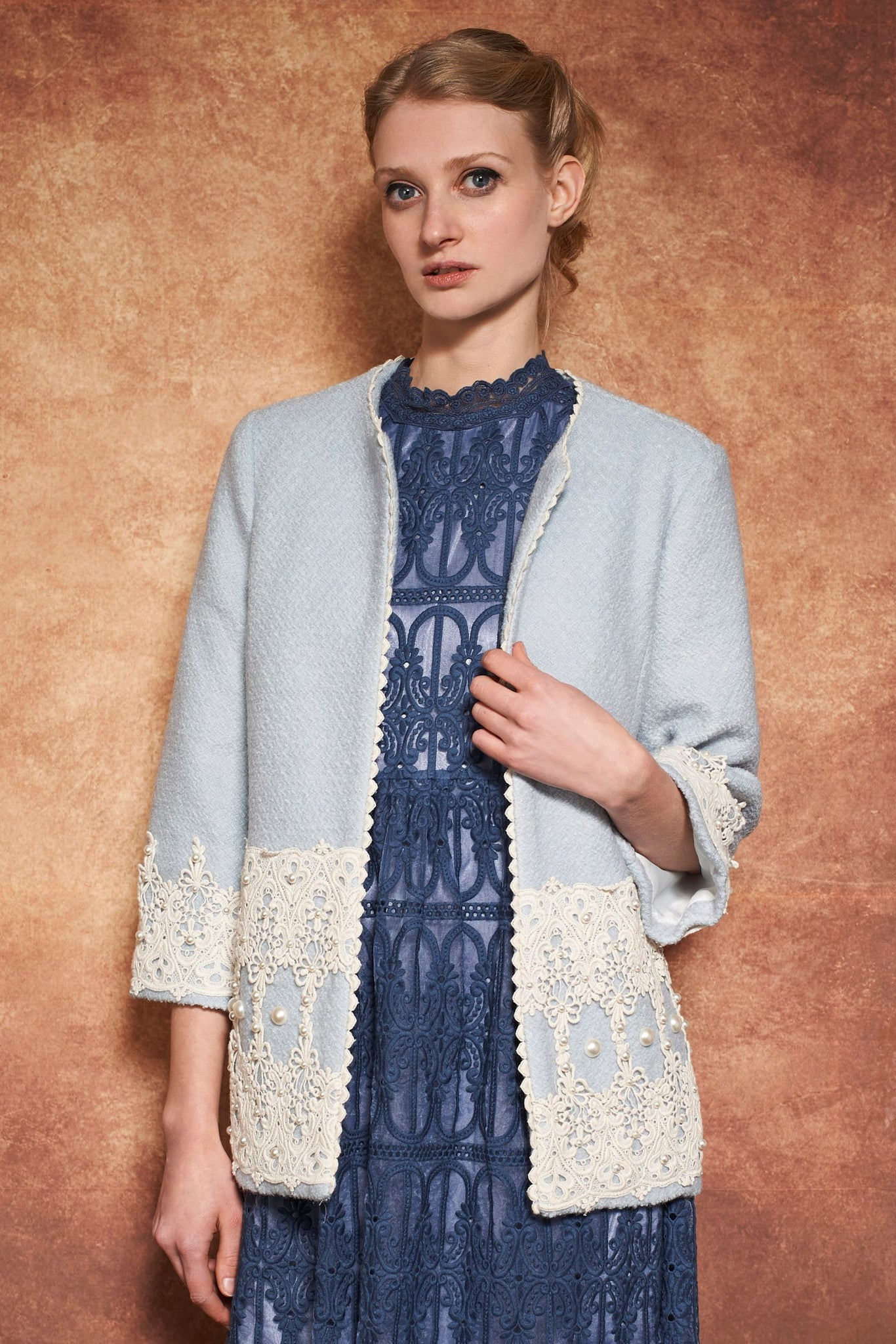 LUXY PEARL OPEN COAT - BLUE - Darccy & Soma London