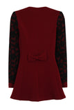 FLORAL NET LONG JACKET - BURGUNDY