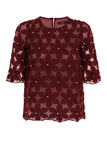MY DAISY LACE TOP - BURGUNDY