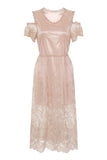 SHEER GOLD MAXI LACE DRESS - Darccy & Soma London