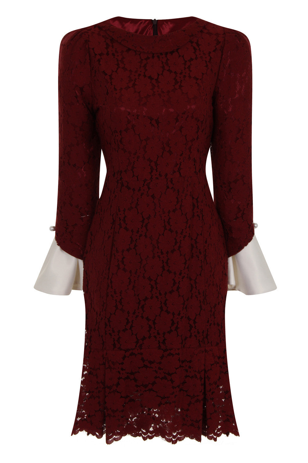 SLEEVES OUT FIT DRESS - WINE - Darccy & Soma London