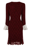 SLEEVES OUT FIT DRESS - WINE