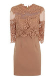 SHEER SHOULDER BODYCON DRESS - BEIGE